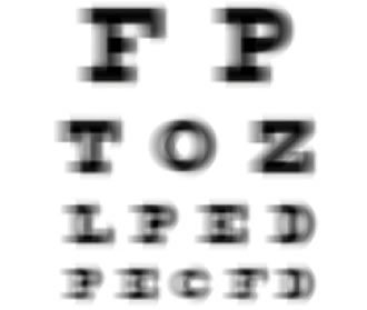 Description: image with blurry letters, simulating the vision of a person with astigmatism.