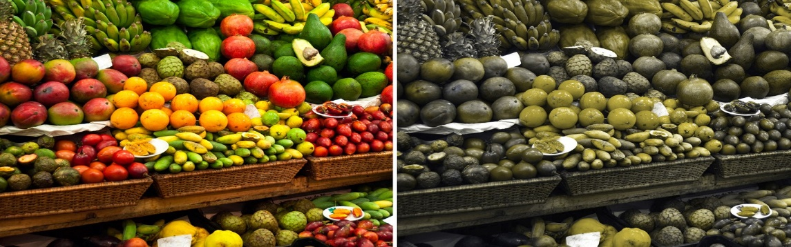 Image description: montage with 2 images, on the left side, several colored fruits, on the right side, the same fruits in neutral colors and with little contrast. Created by Juliana Fernandes.